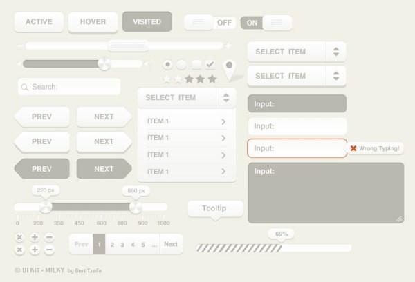Silver webUI elements PSD