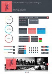 Colorful Web UI design stuff PSD free
