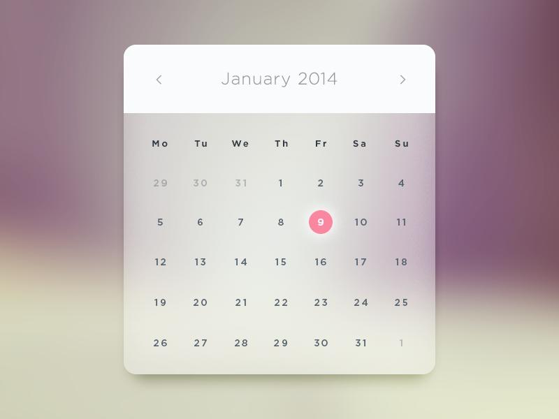 Glass Calendar PSD