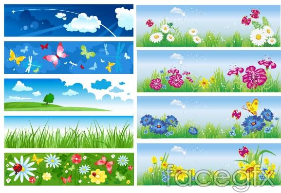 Fresh flowers BANNER vector