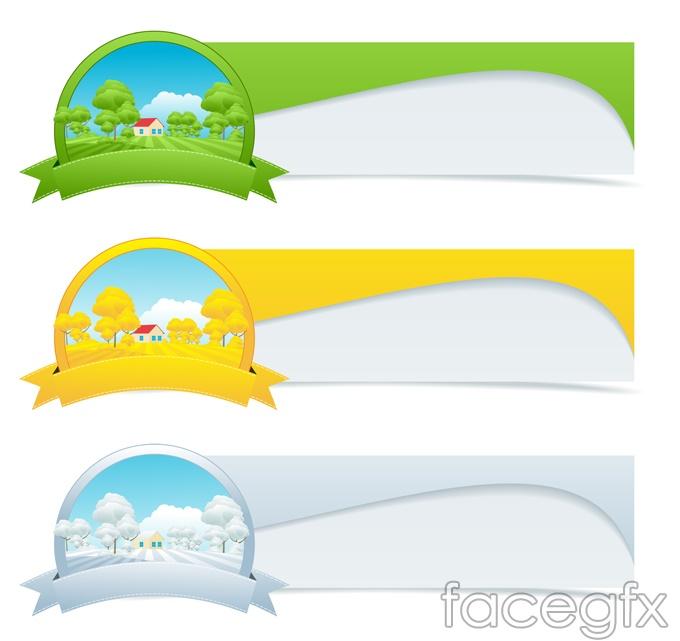 Four seasons design banner vector   Free download