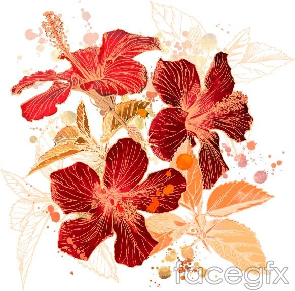 Vector flower plants in EPS format