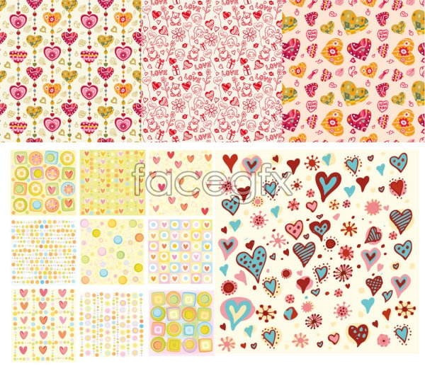 Cute hearts background heart-shaped tile vector