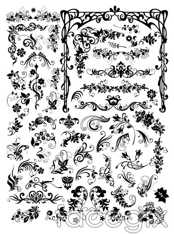 Variety of European fashion pattern vector EPS format in black and ...