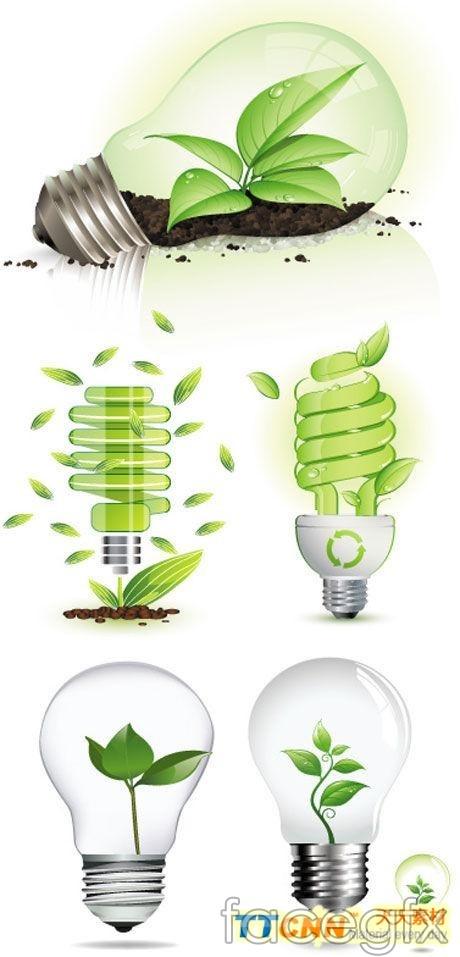 Green bulbs vector