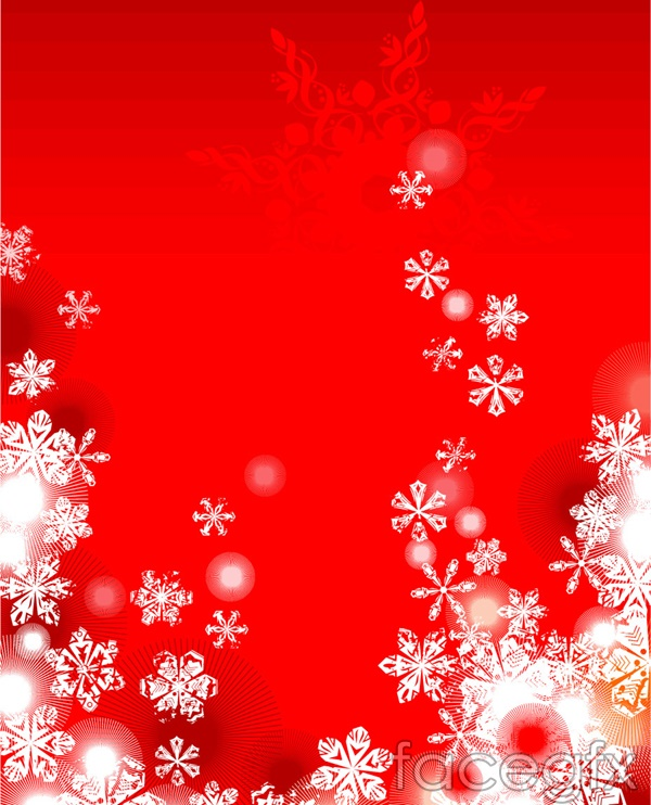 2 red Christmas snowflakes vector background