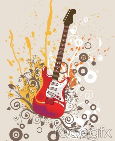 Beautiful guitar vector tools