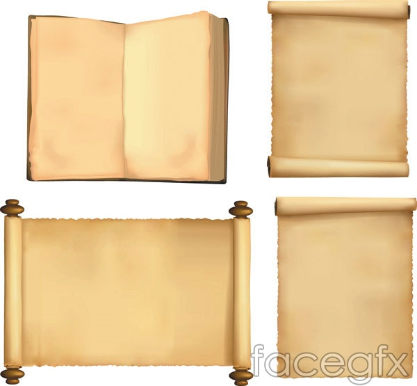 Books on paper scroll of parchment vector