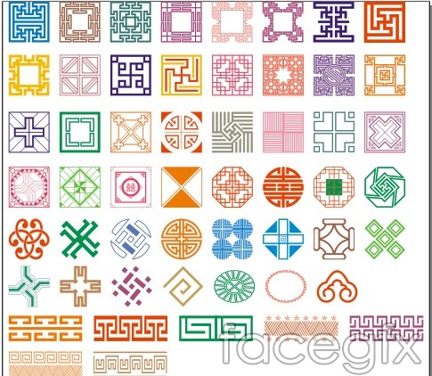 Classical pattern vector figure shading border decor decorative design