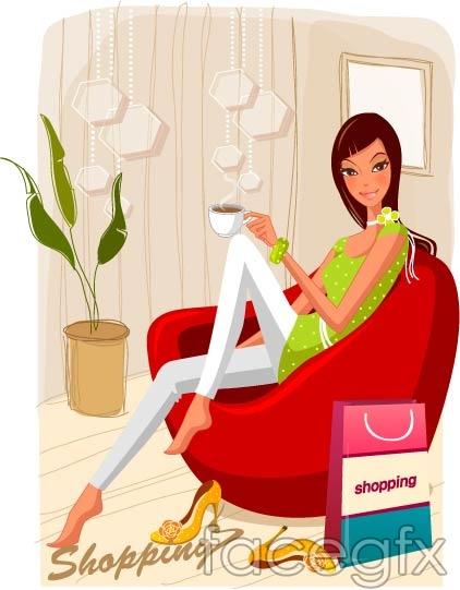 Female fashion shopping 19 vector