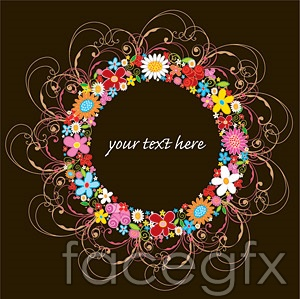 Flower wreaths vector consisting of Design