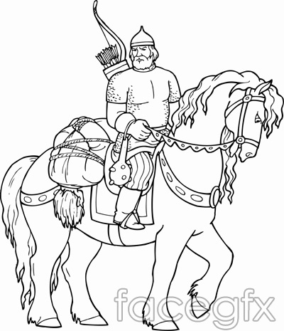 Foreign Knights line-line warriors vector