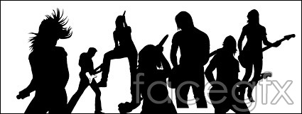 Live performance musician singer silhouettes vector