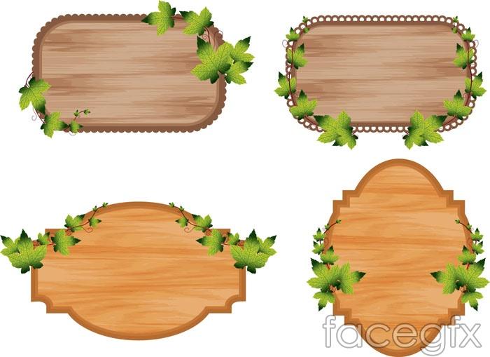 Wood decorative tag vector