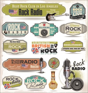 Retro rock music and jazz labels vector 07