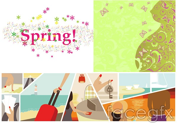 3 female theme vector Butterfly spring