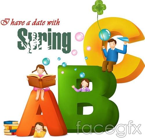 ABC spring vector design