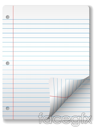 Blank notebook paper and stationery volumes corner angle vector