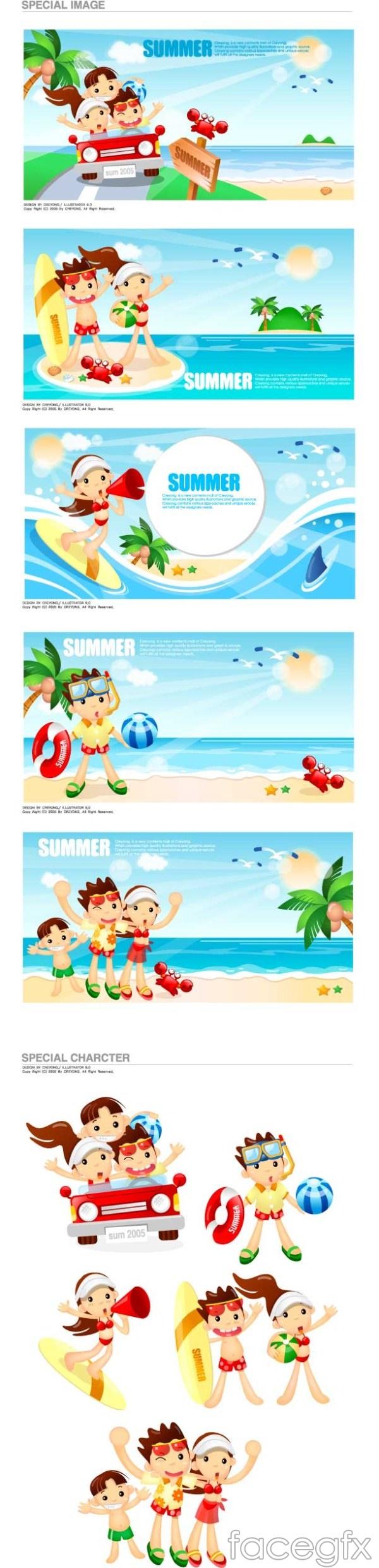 Cartoon Beach coconut tree crab vector