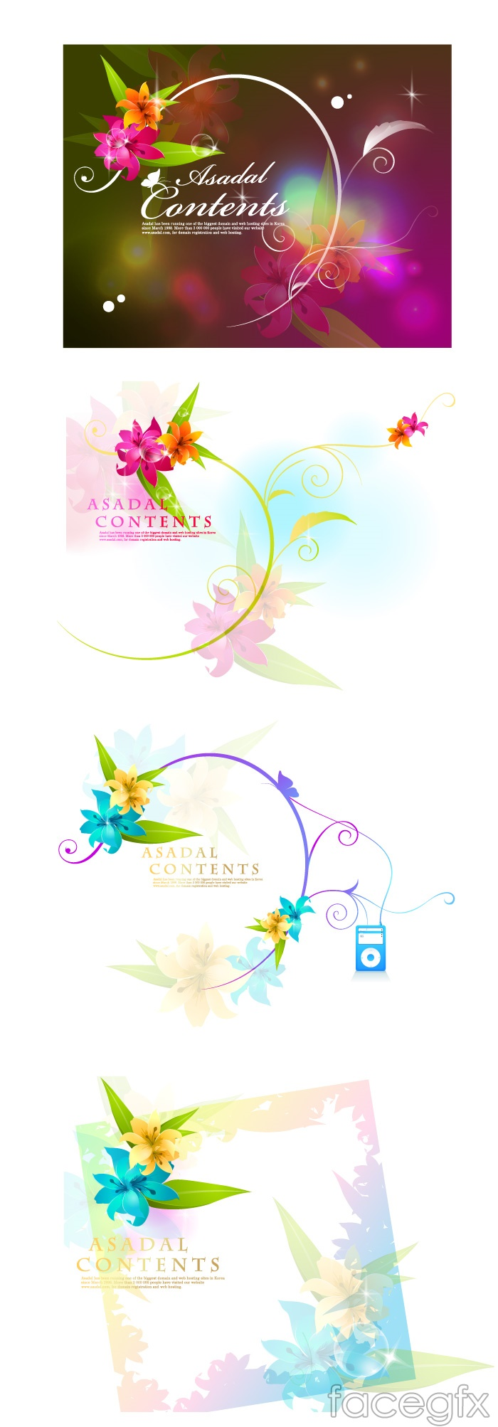 Current fantasy flowers vector
