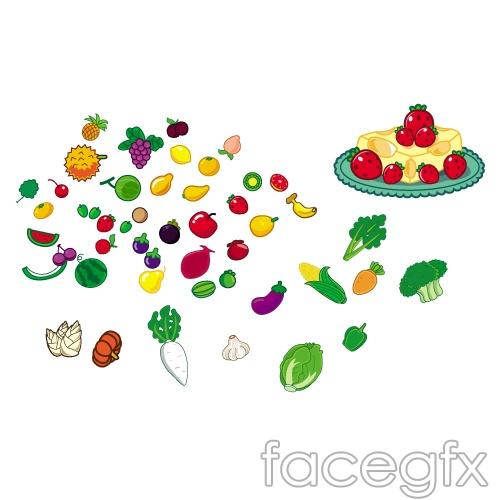 Cute fruits vegetables vector