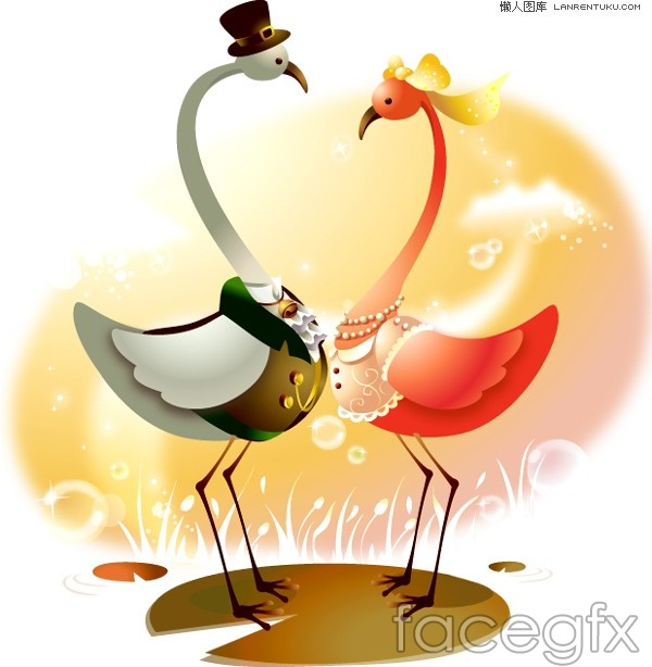 Cute pig cartoon style and crane couple vector
