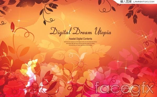 Fashion fantasy floral background vector