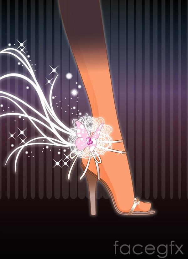 Foot tread heels vector graphics library