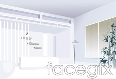 Indoor bamboo interior design illustration 3D vector