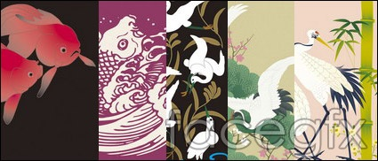 Japan traditional pattern vector 8-animal