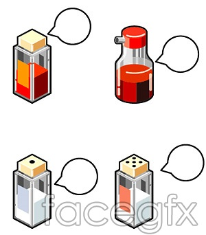 Kitchen bottled spices vector