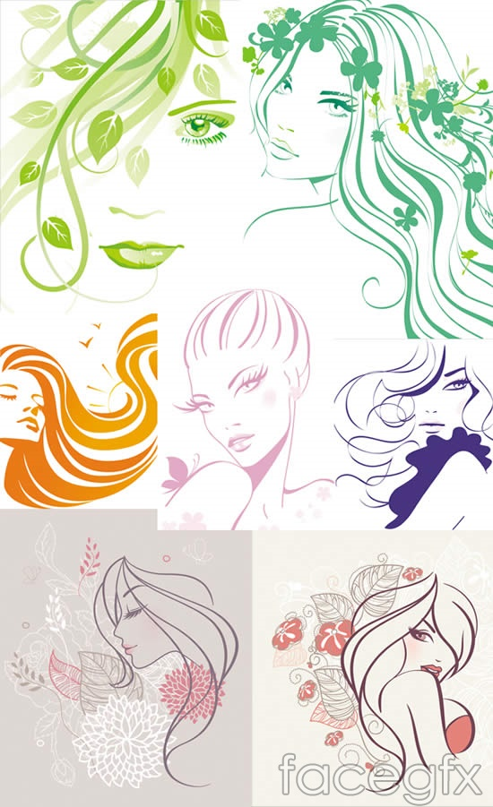 Line drawing of female head hand-painted beauty vector