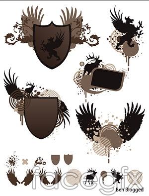 Shields, wings, European-style pattern vector