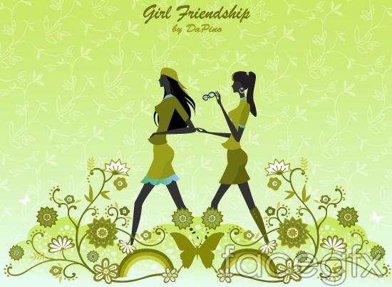 Vector girl friendship floral Butterfly Rainbow