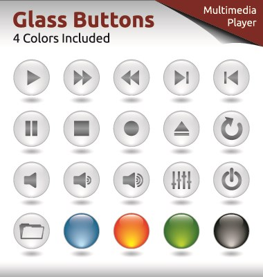 Glass buttons for web design vector 02