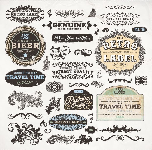 Vintage elements labels and Borders vector 04