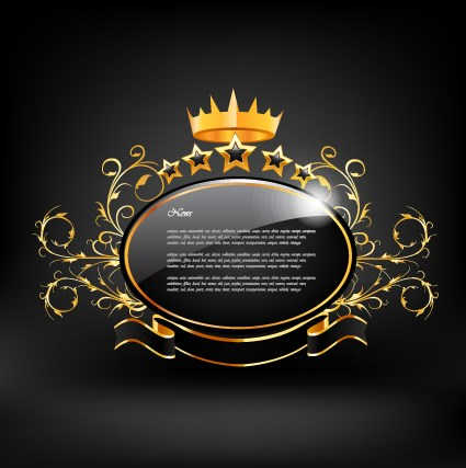 Crown with glass label vector 03