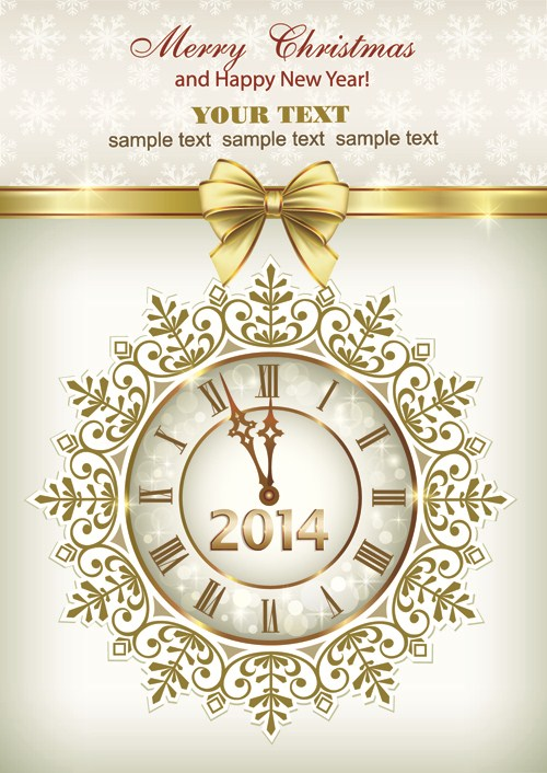 2014 New Year Clock Background set 03 vector