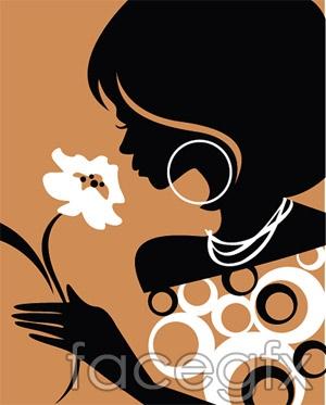 Fashion girl silhouettes vector