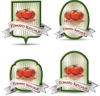 Tomato ketchup labels vector 03
