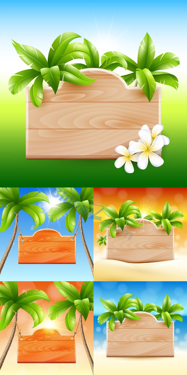 Tropical theme tips wood vector