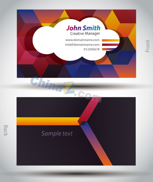 Bright business card design template vector