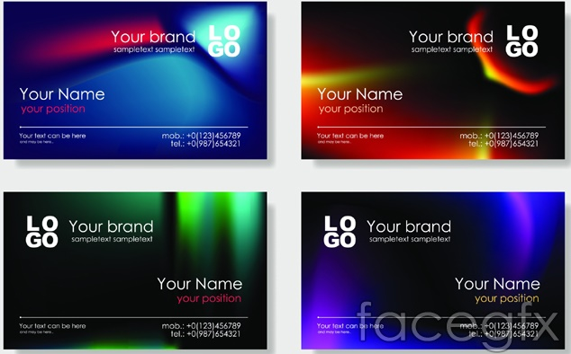 Bright business card templates design vector