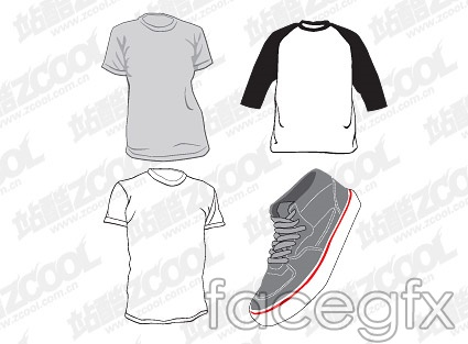 Casual t-shirts and shoes vector
