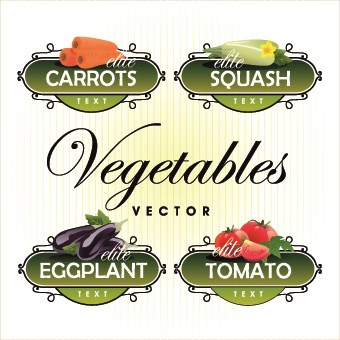 Fresh fruits and vegetables labels vector 03
