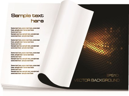 Hand open book vector set 04