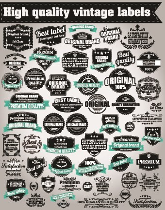Retro High quality labels 05 vector