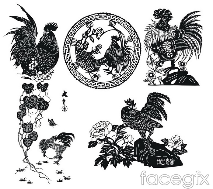 Traditional paper-cutting animal dicks designs CDR format vector