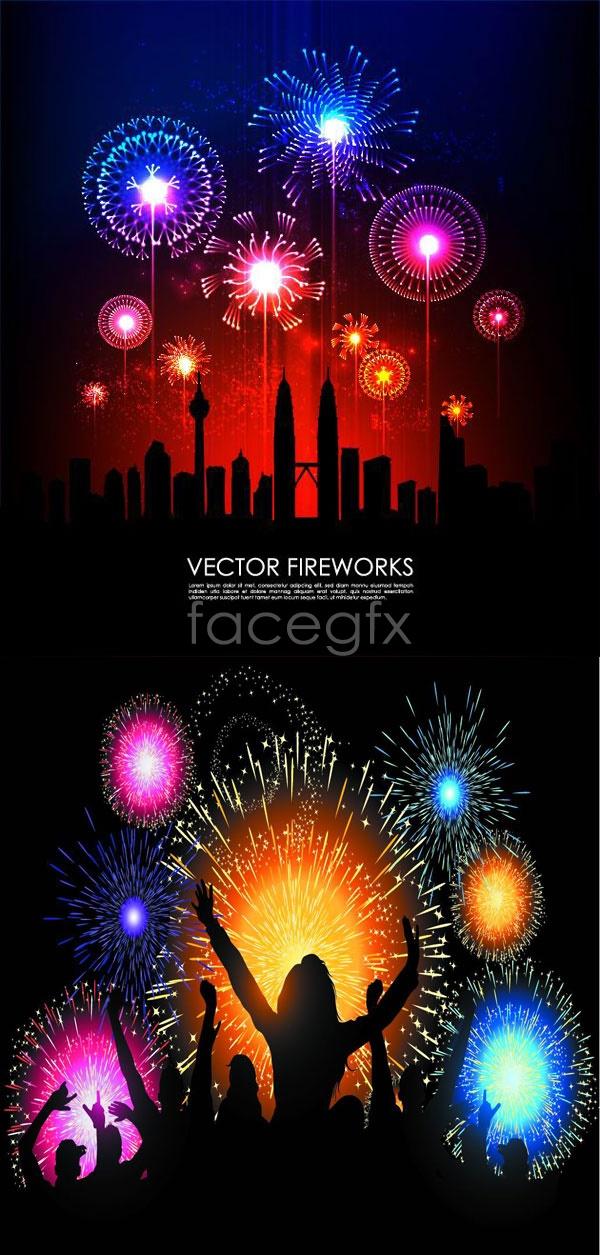 Fireworks of celebration night vector