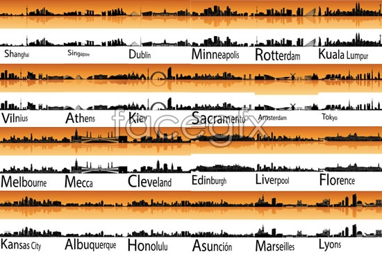 World famous cities construction vector